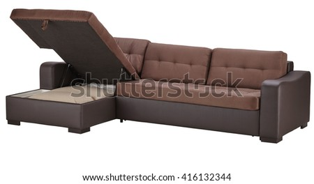 Brown leather corner couch bed with storage isolated on white include clipping path - stock photo