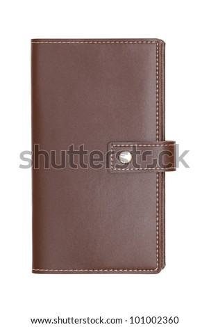 Brown leather covered notebook