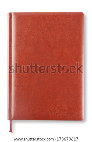 Brown leather diary isolated on white background