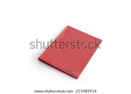 brown leather folder isolated on white