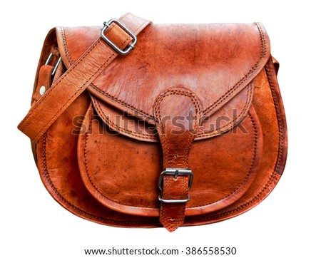 brown leather handbag, bag - stock photo
