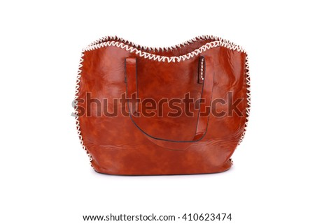 Brown leather handbag  isolated on white background. - stock photo