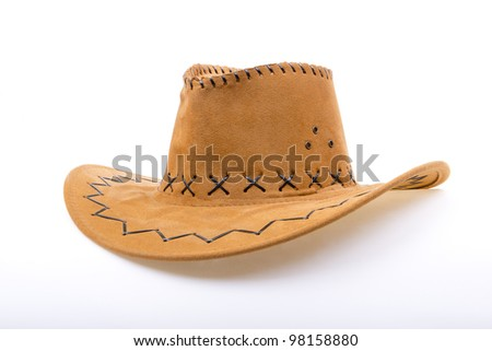 Brown leather hat isolated on white. Traditional hat for all american cowboys. - stock photo