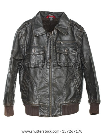brown leather jacket isolated on white - stock photo