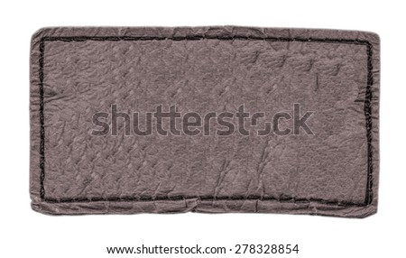 brown leather label isolated on white background - stock photo