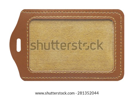 Brown leather label tag, isolated on the white background. - stock photo