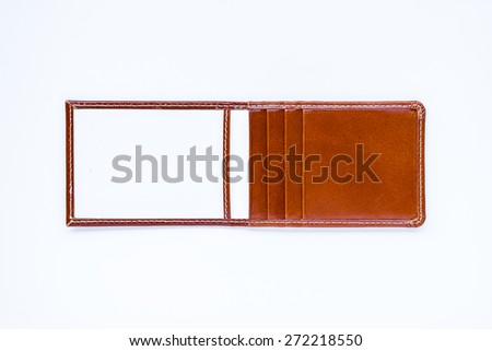 Brown leather label tag with string, isolated on the white  - stock photo