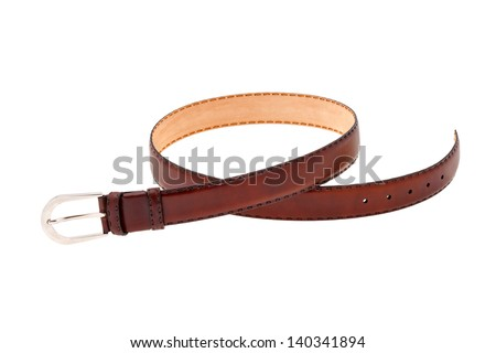 Brown leather male belt isolated on white background - stock photo