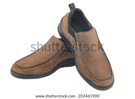 Brown leather men shoes isolated on white background - stock photo