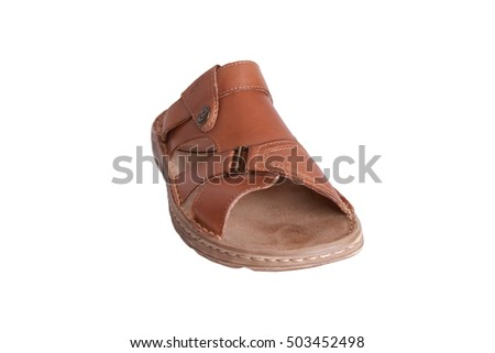 Brown leather men shoes isolated on white background