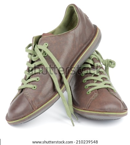 Brown Leather Men Shoes with Green Shoelaces isolated on white background - stock photo