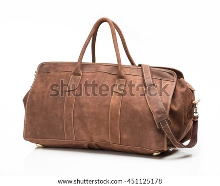 Brown leather men travel bag on a white background