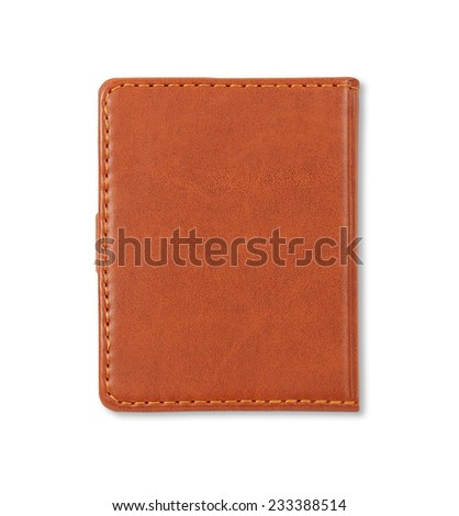 Brown leather notebook cover isolated on white background - stock photo