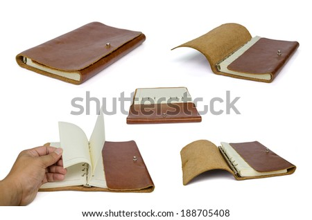 Brown leather notebook isolated on white background with clipping path - stock photo