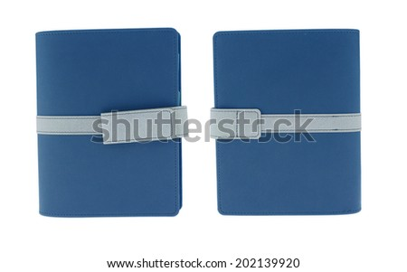 Brown leather notebook memo front  back  isolated on white background - stock photo