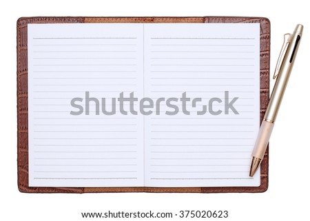 Brown leather notebook with ballpoint pen isolated on white background