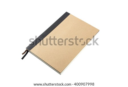 Brown Leather notebooks isolated on white background with clipping path - stock photo