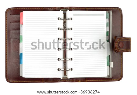 brown leather notepad organizer paper book with clipping path isolated on white background - stock photo