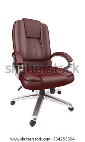 Brown leather office chair - stock photo