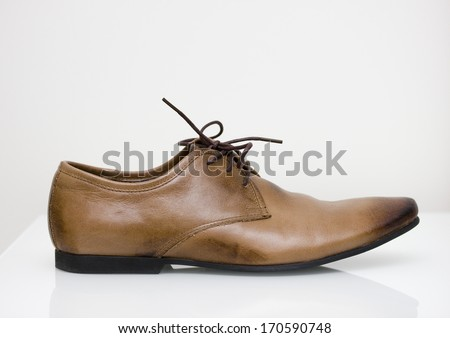 brown leather oxford shoes side - stock photo