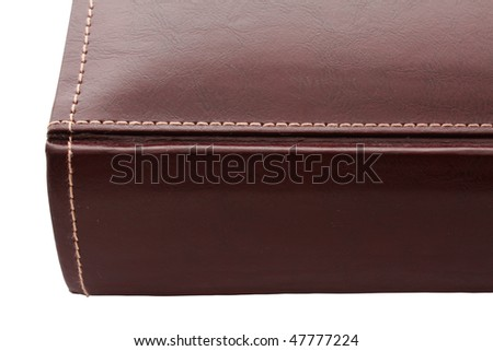 brown leather photo album cover,  isolated white background