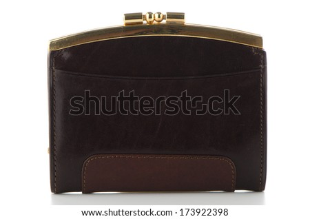 Brown leather purse isolated on white background.