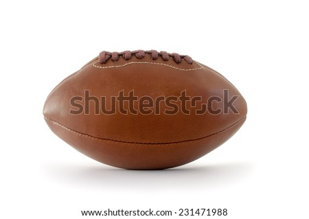 Brown leather rugby ball isolated on a white background