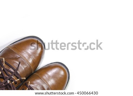 brown leather shoes isolated on white background.