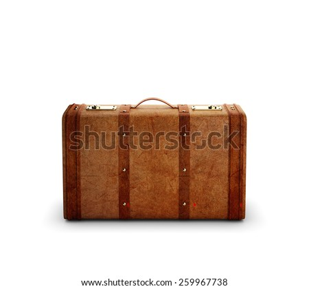 brown leather suitcase isolated on white background - stock photo