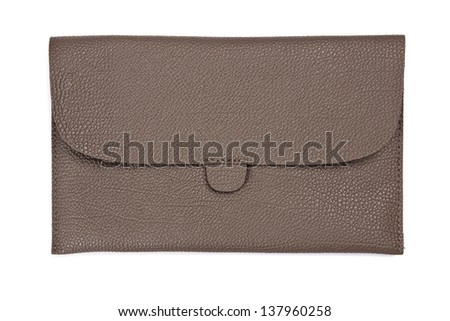 Brown leather tablet computer bag on a white background - stock photo