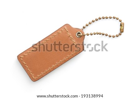 Brown Leather Tag in  White background