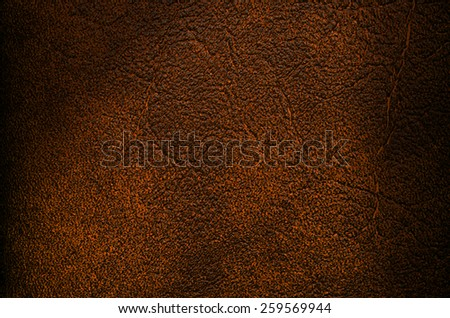 Brown leather texture with Shadow closeup background - stock photo
