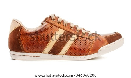 brown leather trainer shoe isolated on white - stock photo