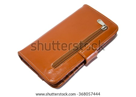 Brown leather wallet lady on a white background - stock photo