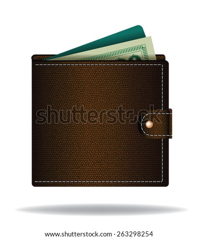 Brown leather wallet with cash and credit card royalty free illustration for ad, marketing, poster, icon, social media, e-commerce, web page, apps, signage