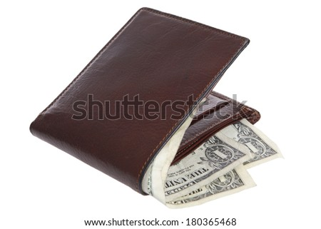 Brown leather wallet with dollar bills on white background