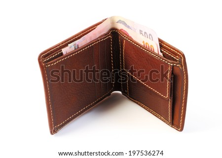 Brown leather wallet  with money isolated on white background. - stock photo