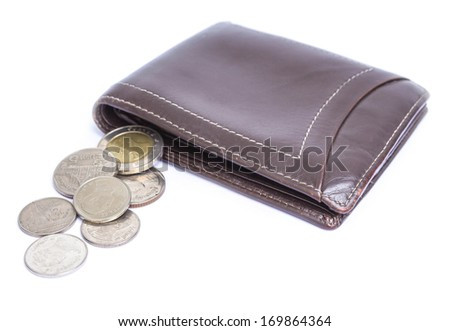 brown leather wallet with money on white