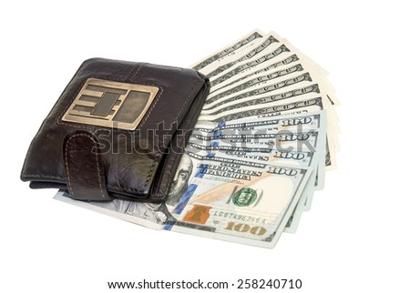 brown leather wallet with one hundred usa dollar bills. isolated - stock photo