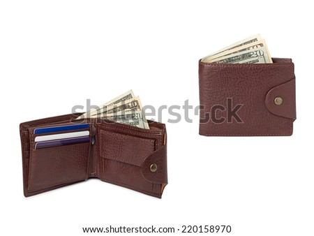 brown leather wallets with money - stock photo