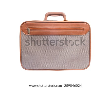 brown leather with grey tweed fabric briefcase isolated on white background - stock photo