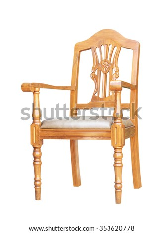 Brown leather-wrapped wooden chair isolated on white background