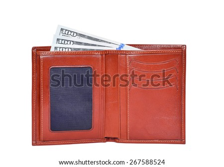 Brown leathter wallet with 100 dollars money - stock photo