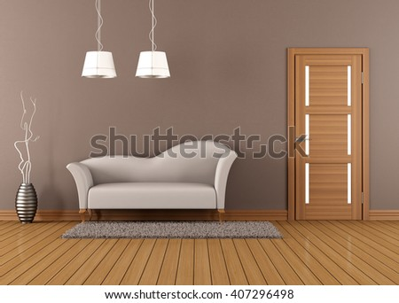 Brown living room with white sofa and closed door - 3d rendering - stock photo