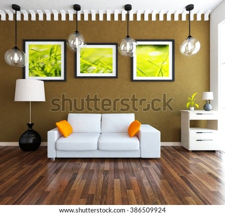 brown living room with white sofa. 3d illustration