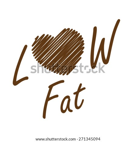 Brown Low Fat Label, Banner, Sign or Icon Isolated on White Background - stock photo