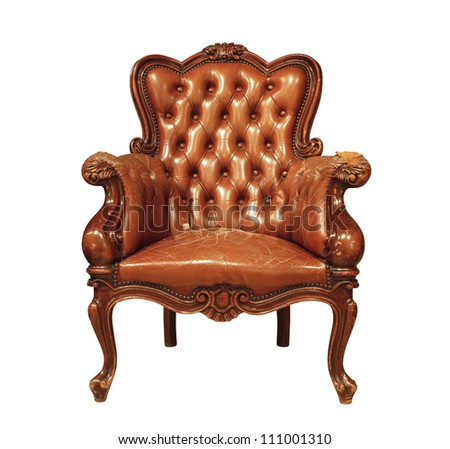 Brown luxury leather armchair isolated on white background