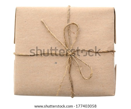 Brown mail package parcel wrap delivery - stock photo