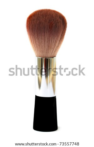 brown make up brush isolated on white - stock photo