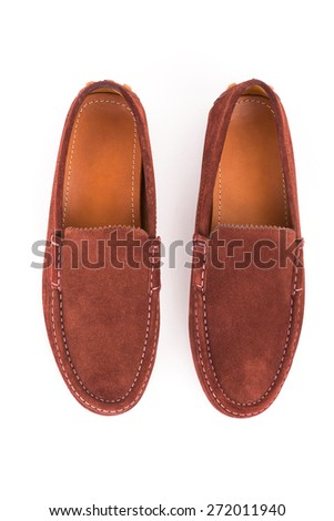 Brown male leather loafers pair isolated on white background - stock photo